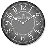 Gray & White Wall Clock, Available in 8 Sizes, Most Sizes Ship 2-3 Days, Whisper Quiet.