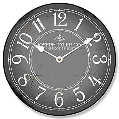 """Gray & White Wall Clock, Available in 8 sizes, Most Sizes Ship 2-3 days, Whisper Quiet. - LIFETIME WARRANTY. We will replace your mechanism (not the entire clock) for as long as you own it. Mechanisms are tested before mailing, however, if it is damaged in shipping we will mail you a replacement. Some assembly is required to replace the mechanism. Our contact info is on clock back. (The warranty is through us not Amazon). SILENT QUARTZ MECHANISMS! Our clocks are very quiet. No annoying ticking!! Our clocks sit flat against the wall and do not wobble. The mechanisms are as recessed as possible, which makes for a nicely finished product. HANDMADE IN AMERICA BEAUTIFUL **PRINTED** FACE ON SOLID PIECE of 1/2"""" MDF WOOD PRODUCT. The face is NOT a sticker. It is printed directly on the wood. Our clocks feel solid because of the thicker mdf wood. Our edges are nicely rounded. It takes us just a few days to make your clock. We are usually much faster than is listed. - wall-clocks, living-room-decor, living-room - 51NpXJ46rYL. SS400  -"""