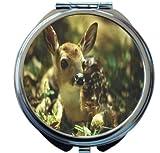 Rikki Knight Fawn Deer Design Round Compact Mirror