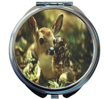 Rikki Knight Fawn Deer Design Round Compact Mirror by Rikki Knight
