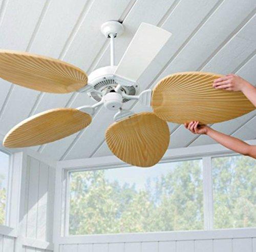 Palm Leaf Ceiling Fan Blades-Set of 5 (Ivory)