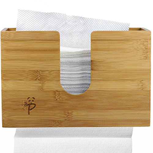 Smooth Towel - Paper Towel Dispenser Bamboo for Kitchen Bathroom Decor Wall Mount Or Countertop Paper Towel Holder for Multifold Paper Towels, Z fold, Trifold Hand Napkin Dual and Smooth Dispensing Beeswax Coated