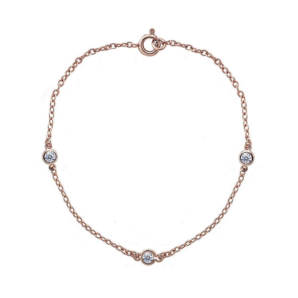 Rose Gold Flashed Sterling Silver Cubic Zirconia Station Dainty Chain Bracelet