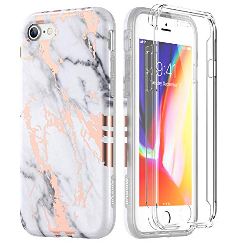 SURITCH Marble iPhone 8 Case/iPhone 7 Case, [Built-in Screen Protector] Full-Body Protection Hard PC Bumper + Glossy Soft TPU Rubber Gel Shockproof Cover Compatible with Apple 7/8- White/Gold