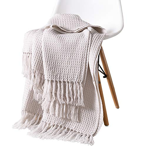 Desirable Life Soft Knitted Warm Throw Blanket Tassel Bed Couch Sofa Blanket Decorative Fringe Waffle Weave Pattern for Home Office (51