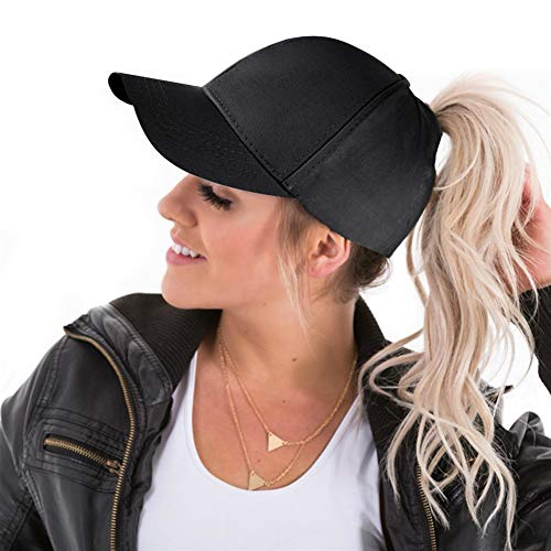 f8d4f6bd6 High Ponytail Hole Baseball Hats Cap for Women,Messy Bun Hat Adjustable  Cotton and Mesh