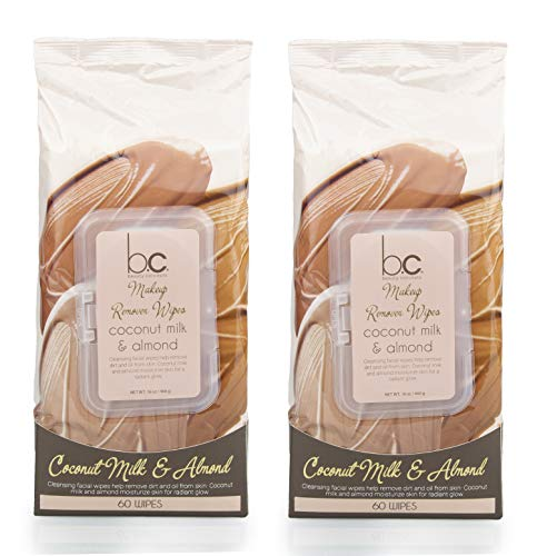 Beauty Concepts 2 Pack (60 Count Each) Coconut Milk and Almond Facial Cleansing Wipes – Detoxifies Skin and Removes Makeup – Flip Top Pack