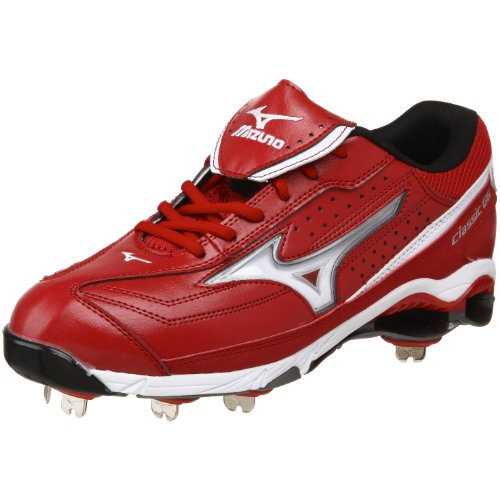 best website c9666 922d8 Mizuno Herren 9-Spike Classic G6 Low Switch Baseballschuh Rot-Weiss
