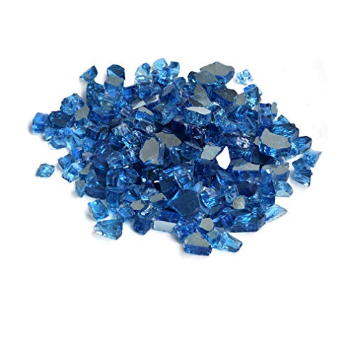 (Skyflame 10-Pound Fire Glass for Fireplace Fire Pit and Landscaping, Pacific Blue Reflective, 1/2-Inch)