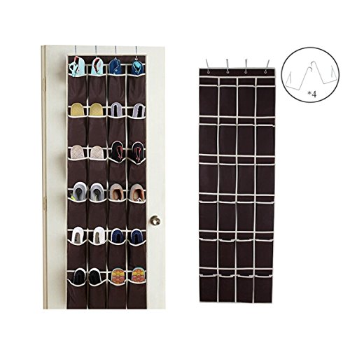 "Large Size Over the Door Shoe Organizer , SunJolly 24 Pockets Hanging Shoe Storage with 4 Steel Hooks (19"" x 58"")"