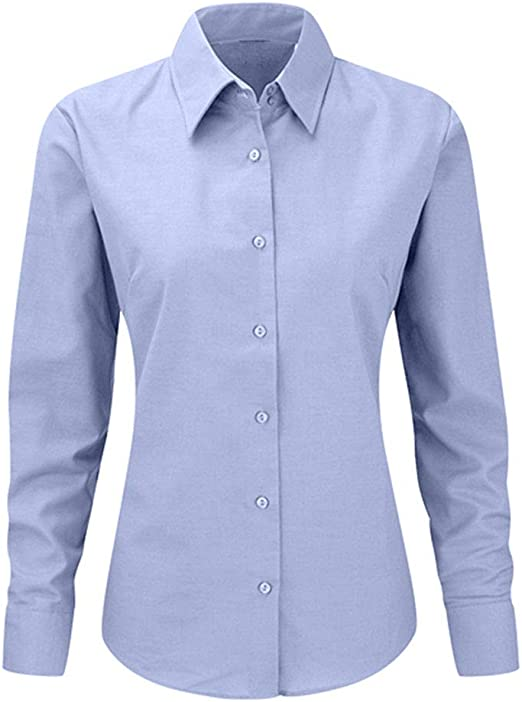 My Custom Style Mujer Camisa Oxford de Manga Larga de Color Azul. Talla L: Amazon.es: Hogar