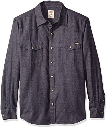 Dickies Men's Regular Fit Brushed Flannel Western Shirt, Charcoal, Large