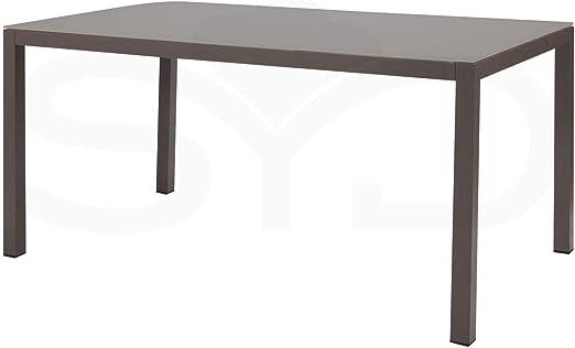 Mesa de Comedor. Aluminio de Exterior Primera Calidad y Cristal Templado Arce. 152x90x74cm: Amazon.es: Jardín