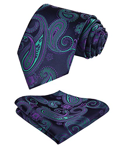 HISDERN Men's Paisley Tie Floral Jacquard Woven Necktie for sale  Delivered anywhere in USA