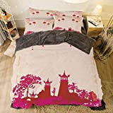 Eastern King Bed Vs King iPrint Flannel 4 Pieces on The Bed Duvet Cover Set for Bed Width 6.6ft Pattern by,Lantern,Asian Landscape with Various Eastern Figures from Orient Japanese Towers Decorative,Hot Pink Multicolor