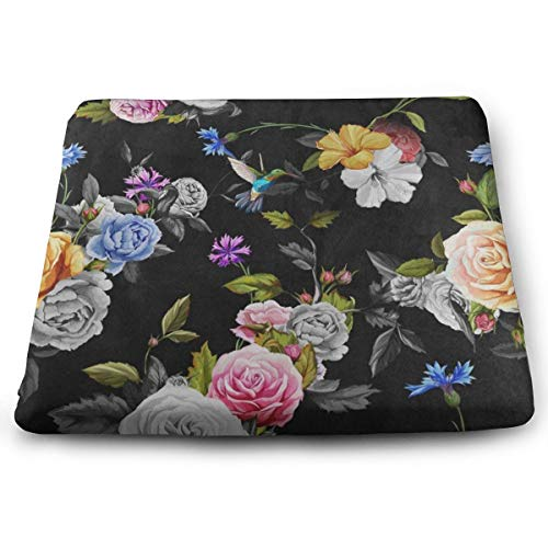 Ladninag Seat Cushion Hummingbird Bird Floral Flower Chair Cushion Amazing Offices Butt Chair Pads for Kitchens