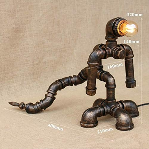 TDes Desk Lamps LOFT Retro Wrought Iron Pipe Robot Table lamp Industrial Wind Personality Hotel Living Room Study bar Restaurant Decoration lamp (Color : E)