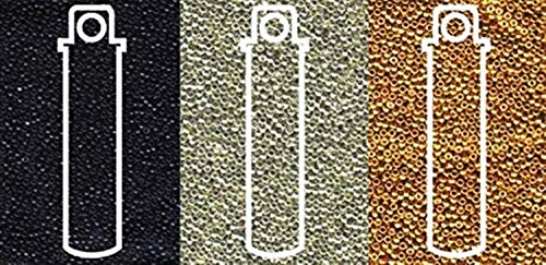 (Miyuki Metallic Seed Beads Mix, Size 15/0, Galvanized Silver, Galvanized Gold and Black Opaque (8.2 Gram Tubes X 3))