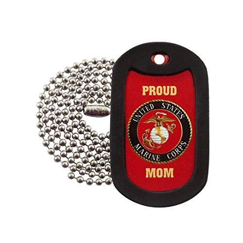 Marine Dog Tag Pendant - Military Dog Tags - Proud USMC Mom Marines Dog Tag Necklace - Tag-Z - RED