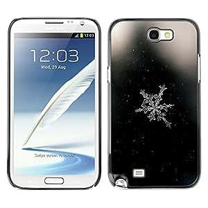 TopCaseStore / la caja del caucho duro de la cubierta de protección de la piel - Space Black Snowflake Black - Samsung Galaxy Note 2 N7100