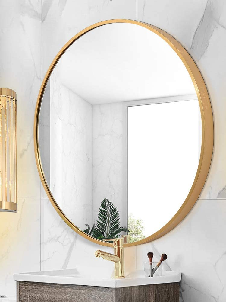 TMGY Gold Round Mirror Wall Mounted,Large Circle Mirrors for Wall Decor,31.5in Big Metal Frame Wall Mirror,Modern Vanity Mirror for Living Room Bathroom Bedroom