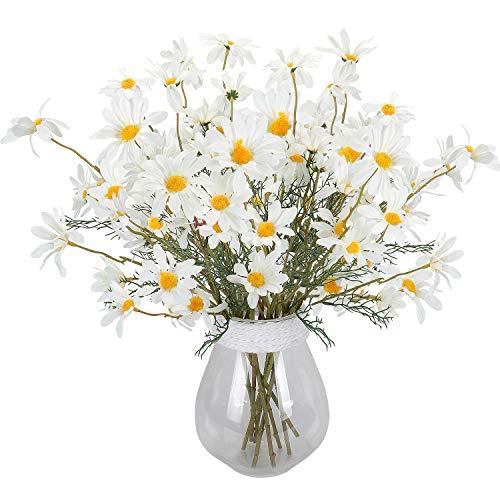 RERXN Artificial Flowers Silk Daisy Perennis Long Stem Fake Gerbera Sunflower Home Wedding Offince Decor. Pack of 5 (White)