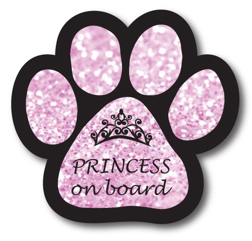 Magnet Me Up Princess on Board Pink Sparkly Pawprint Car Magnet 5 Paw Print Auto Truck Decal Magnet