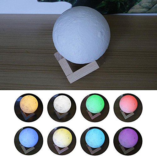 3D Moon Lamp, niceEshop(TM) 7 Colors LED Printing Lighting Night Light Warm Lunar Lamp with Dimmable Touch Control, USB Charging, Wood Holder for Home Decoration & Christmas, Birthday Gifts, 3.14in by niceeshop (Image #4)