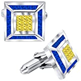 Men's Sterling Silver .925 Cufflinks with Canary Yellow and Azure Blue Princess-Cut Cubic Zirconia Stones, Platinum Plated, 15 mm Square. By Sterling Manufacturers
