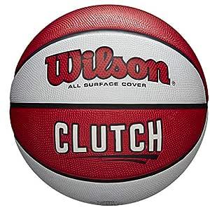 Wilson Clutch - Balón de Baloncesto (Talla 7), Color Blanco y Rojo ...