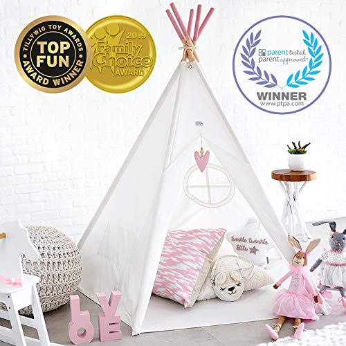 Hippococo Teepee Tent for Kids: Large Sturdy Quality 5 Poles Play House Foldable Indoor Outdoor Tipi Tents, True White Canvas, Floor Mat, Pink Heart Accessory, Family Fun Crafts eBook Included (Pink) -