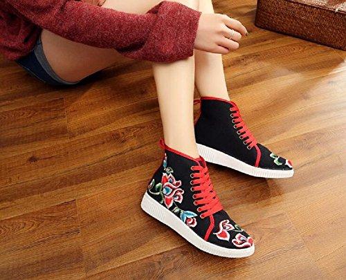Stile Cinese Women Alla Aumenta Ricamo Alte Le Nero Casual Cute Scarpe Lazutom Vintage Caviglia WIqX66