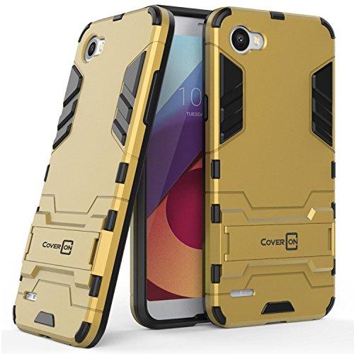 LG Q6 Case, LG Q6 Plus Case, LG Q6a Case, CoverON Shadow Armor Series Modern Style Slim Hard Hybrid Phone Cover with Kickstand Case for LG Q6 / Q6 Plus / Q6a - Gold