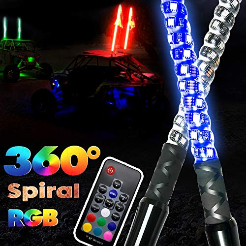 2pcs GTP 4ft Spiral LED Whip Lights 360° Twisted 20 Color RGB – 21 Modes Lighted Whips Antenna W/Flag for UTV ATV Polaris RZR Quad Off Road Jeep Can-am Maverick Yamaha Sand Dune Buggy 4X4