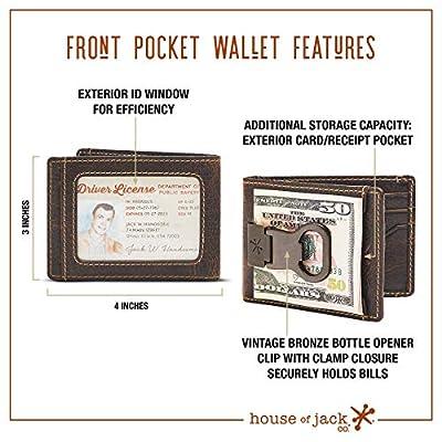 HOJ Co. Bottle Opener Front Pocket Wallet-Full Grain Leather-ID Bifold Money Clip Wallet