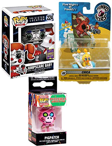 (Cake Race Series Five Nights at Freddy's Character Pack Vinyl Pop! Bundled with + Sister Location SDCC Jumpscare Baby Exclusive & Pigpatch Guitar Pop Keychain + Chica Duck Car Collectible 3 Item )