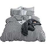 Black and White Duvet Set CLOTHKNOW Ticking Stripe Bedding Sets Twin Size Duvet Cover Sets White and Black Striped for Boys Girls Kids Room Bedding 100 Cotton 3 Pieces Reversible - 1 Duvet Cover Zipper Closure 2 Pillow Shams