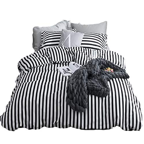 CLOTHKNOW Ticking Stripe Bedding Sets Twin Size Duvet Cover Sets White and Black Striped for Boys Girls Kids Room Bedding 100 Cotton 3 Pieces Reversible – 1 Duvet Cover Zipper Closure 2 Pillow Shams