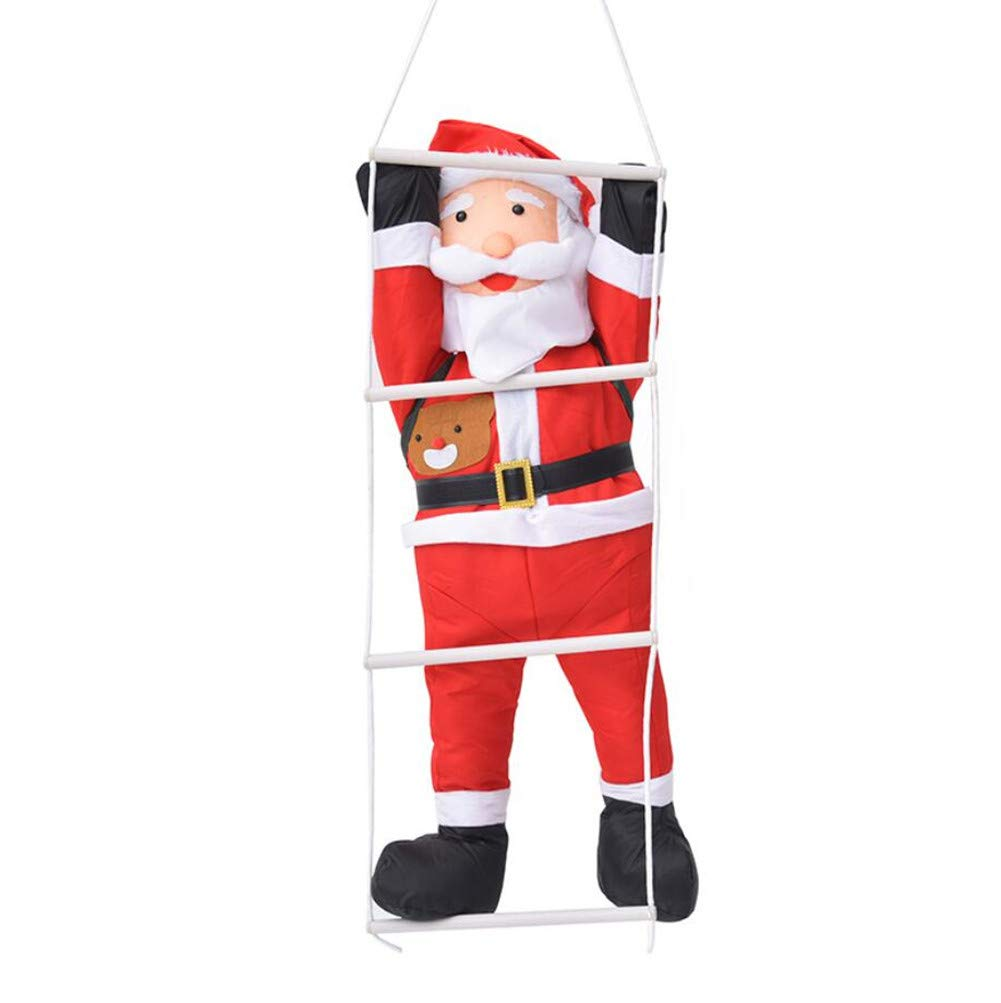 50 Christmas Santa Claus Climbing on Rope Ladder Christmas Tree Indoor Outdoor Hanging Ornament Decor Toy Large Xmas Party Home Door Wall Decoration KKING