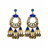 ptk12 Vintage Retro Style Coin Tassels Dangle Earring Beach Bohemian Ethnic Jewelry Belly Dance Accessory Charm Earrings