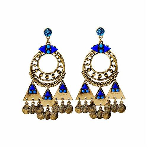 ptk12 Vintage Retro Style Coin Tassels Dangle Earring Beach Bohemian Ethnic Jewelry Belly Dance Accessory Charm Earrings by ptk12 (Image #7)