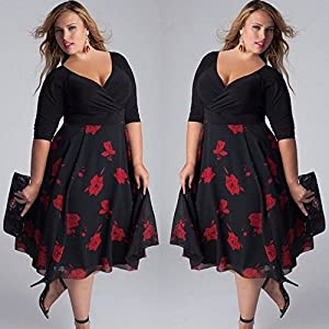 Tosonse Plus Size Boho Swing Dresses for Women Deep V Neck Evening Party Cocktail Midi Dress