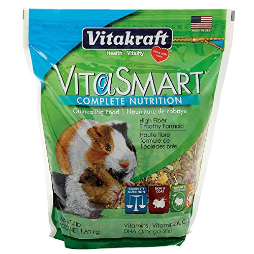 Vitakraft Vitasmart Guinea Pig Food - High Fiber Timothy Formula, 4 ()