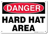 """Danger Hard Hat Area Sign - Construction Safety Signs - 10""""x14"""" - .060 Heavy Duty Plastic - Made in USA - UV Protected and Weatherproof - A82-120PL"""