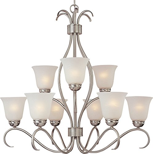 Maxim 10128ICSN Basix 9-Light Chandelier, Satin Nickel Finish, Ice Glass, MB Incandescent Incandescent Bulb , 60W Max., Dry Safety Rating, Standard Dimmable, Opal Glass Shade Material, Rated Lumens ()