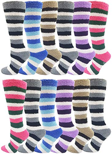 12 Pairs of Fuzzy Socks For Women, Warm, Soft Furry Microfiber, Comfortable, Cozy, Bulk Pack