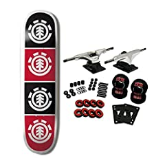 """The Element Quadrant Measures 8.0"""". 100% Canadian Maple pro skateboard deck which is suitable for every skill level from beginner to pro. Core trucks are light weight and feature heavy duty aluminum with grade 8 steel kingpins and axles, as w..."""