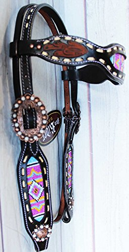 PRORIDER Equine Horse Bridle Western Leather Headstall Tack Beaded Show Rodeo - Beaded Horse