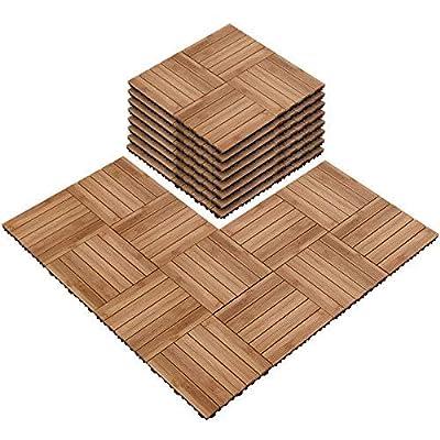 Yaheetech Deck Tiles Patio Pavers Interlocking Wood Composite Decking Flooring Deck Tiles 12 x 12''Fir Wood Indoor Outdoor Applications Stripe Pattern Natural Wood