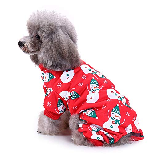 Alixyz Cute Snowman Pet Clothes for Dog Pajamas Soft Christmas Costume Clothing (Red, - Tennessee Snowman